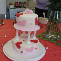 Valentine Cake - Side View This was my final cake for my Wilton III class. I love fondant! Perfect timing for Valentine's day. The cake is chocolate with vanilla...