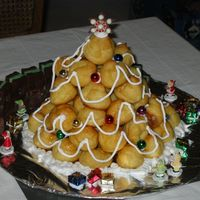 "Piece Montee Christmas Tree This is a traditional French ""cake"" made with a mountain of cream stuffed profiteroles. The whole thing is put together with..."