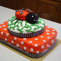 Nadia's ;first Birthday Cake I decided to design this cake around her dress. The skirt was red with white dots and the lady bug on the top had jewels on the wings. On...