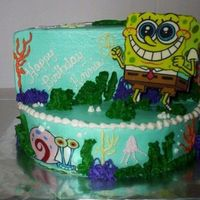 Spongebob Stage   My 1st attempt at the stage cake...thanks for looking.
