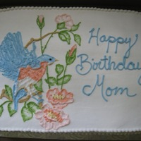 Embroidered Bird 2   One of two cakes I did for a birthday. All Buttercream