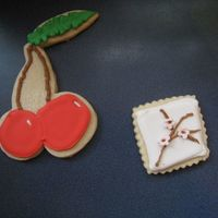 Cherries   Party was cherry themed. The cherry cookies were huge, so I did some with cherry blossoms too NFSC w/ RI