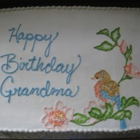 Embroidered Birds   One of two cakes I did for a birthday. All buttercream
