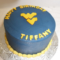 Wvu Buttercream with fondant accents
