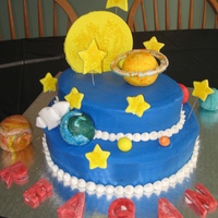 Outer Space Cake BC with MMF planets and decorations.