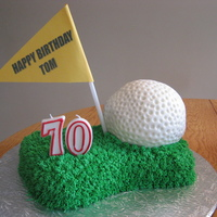 Golf Cake Cake covered in Butter cream. First time using the ball pan. Still working on the shape!