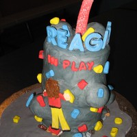 Rock Climbing Wall Cake BC and MMF Decorations. Rocks at the bottom are chocolates.