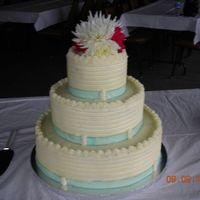 Simple Wedding Cake My fist wedding cake. 3 tier round chocolate cake w/ ganache filling, shells around the top edge w/ pearls, buttercream frosting. This is...