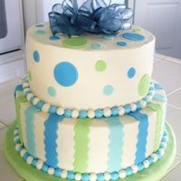 Baby Shower Iced in BC with fondant accents. Bow is real ribbon. I cheated due to lack of time. :)