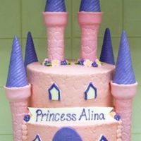 Princess Alina Iced in BC. Turrets and tops made from a wrapping paper tube and ice cream cones. Covered in MMF. Royal icing flowers. MMF accents.