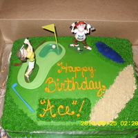 "Happy Birthday ""ace"" Bday cake for a coworkers wife who loves Golf. Red Velvet cake, Cream Cheese frostong, fondant and store bought accents."