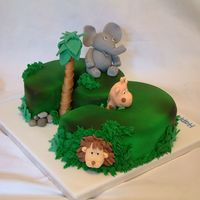 Number 3 Jungle Themed Birthday Cake Vanilla sponge, vanilla buttercream and strawberry conserve with MMF animals. Thanks for looking