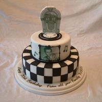 1950's Frank Sinatra 50Th Birthday Chocolate sponge & chocolate buttercream 1950's black and white themed cake. Jukebox & picture of 'Frank' was made...