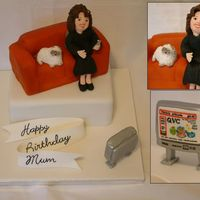 Television Shopping Addict this cake was for lady's mother who is addicted to QVC shopping channel, she wanted her Persian cat beside her. Cake and sofa is...