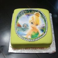 Tinkerbell Photo Cake brandy cake with almonf flavored fondant...firs time with edible images!!!