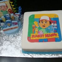 Handy Manny Cake Replica of the plate all fondant, cut one by one and put together...Vanilla/Almonda Cake an White Chocolate Fondant
