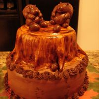 Squirrel Cake This cake was made as a prize for the harvest party at my church. The cake is spice with chocolate buttercream icing. The squirrels and...