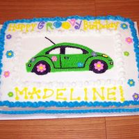 Volkswagon Bug Cake With Dasies I made this cake for a 10 year old girl who loves lime green and Volkswagon Bug cars. Her reaction was so great! She started jumping up and...