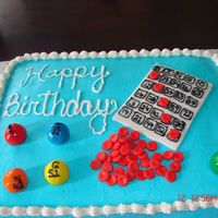 Bingo Birthday Cake Marble cake with butter cream icing and MMF decorations.