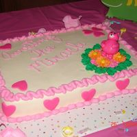 Teddy Bear Baby Shower Cake BC Icing with fondant bear and royal icing flowers.