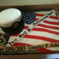 Navy Chief Retirement This cake was truely an honor to do for my cousin's retirement. Cake is all edible with fondant & gumpate details.