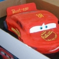 Disney Cars- Lightning Mcqueen Lightning McQueen -Yellow cake covered w/ fondant.