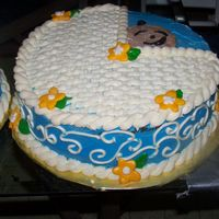 Baby Shower Boy It`s choc cake with choc filling,whip cream frosting and decorating in BC