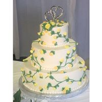 Yellow Flowers And Vines Wedding Cake