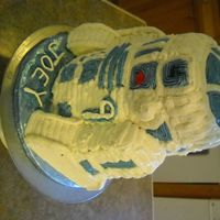 "R2D2 For My Son's 9Th Birthday I just used 7"" rounds stacked for the body and a ball pan for the head. The leggs were Little Debbie Swiss cakes cause I didn't..."