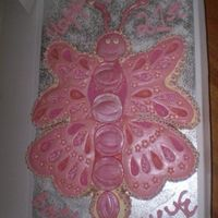 Butterfly Cake White chocolate mudcake with buttercream icing. Wings and body are white chocolate fondant overlay.