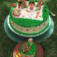 1St Birthday Teddy Bears Picnic Made this Teddy Bears Picnic cake for my Great Nieces 1st Birthday. Buttercake with buttercream icing, fondant accents. Gumpaste figurines...