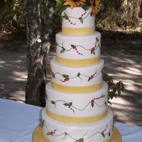Fall Wedding Cake Handmade Sunflowers, What a great fall wedding cake