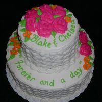 Bridal Shower Cake A friend asked me to make a cake for a bridal shower she was giving. The bride's colors were bright pink and orange with a floral...