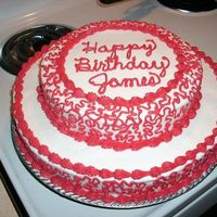Jamesbday.jpg This was a quickie I did for a close friend's boyfriend. All buttercream icing. First time trying the lace look.