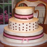 Pink And Brown Ribbons This cake really should have been done in fondant but the couple wanted buttercream. I was disappointed that I couldn't get the...