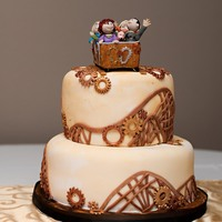 My Steampunk Roller Coaster Wedding Cake  This is my own wedding cake... a mix of Steampunk and the movie Parenthood:) I recently married a man with two kids and so now we have our...