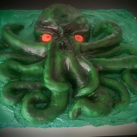 Cthulhu   Cthulhu cake done for a H.P. Lovecraft birthday event in Dallas.