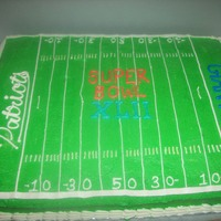 Super Bowl Xlii Half chocolate, half vanilla, butter cream frosting. Go Pats!