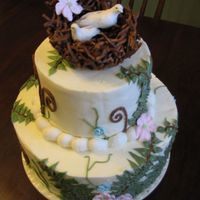 Fern/bird Wedding Cake Cake for a friends small outdoor nature themed wedding.