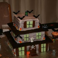 Haunted House Halloween Cake This was a Haunted House Halloween/Birthday cake for my grandson. It was a hit with the kids. White cake with b/c icing, fondant windows,...