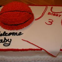 Bobby Iii Sports Themed Baby Shower Cake Butter cake with Indy Debi's icing. Fondant basketball jersey. For Bobby III sports themed baby shower.
