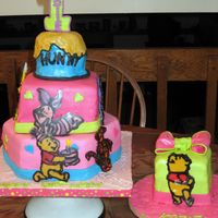 Pooh Cake And Smash Cake   Winnie the Pooh cake and smash cake. MMF, gumpaste bows. Pooh and friends are made from RI. TFL