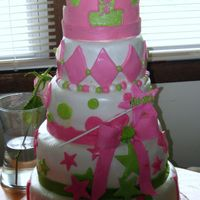 Princess Birthday Cake   Different flavors and fillings for each tier. covered in MMF, with fondant accents. Gumpaste Crown. TFL