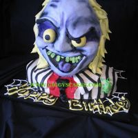 Beetlejuice Beetlejuice 3D all cake all buttercream except the eyes which are fondant.