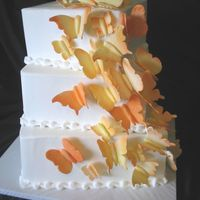 Orange Butterfly Square Wedding Cake