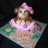 3D Monkey   3D Monkey covered with fondant and fondant accents