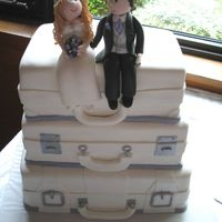 Suitcase Wedding Cake With Fondant Bride And Groom Topper   All fondant with a handmade fondant bride and groom topper