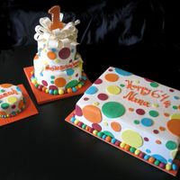 Polka Dot Cakes Buttercream covered cakes with fondant polka dots and fondant ribbon