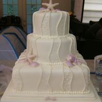 Wedding Cake I got ideas for this cake from by the slice. This was for a wedding for about 135. 12 inch sq, 9 inch rd, 6 inch rd... thanks to all the...