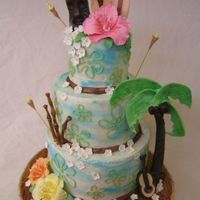 Tiki Cake Tiki Cake for Rehearsal dinner... I got a lot of ideas from here and other online sites like cake lava.. I did this cake along with 3...